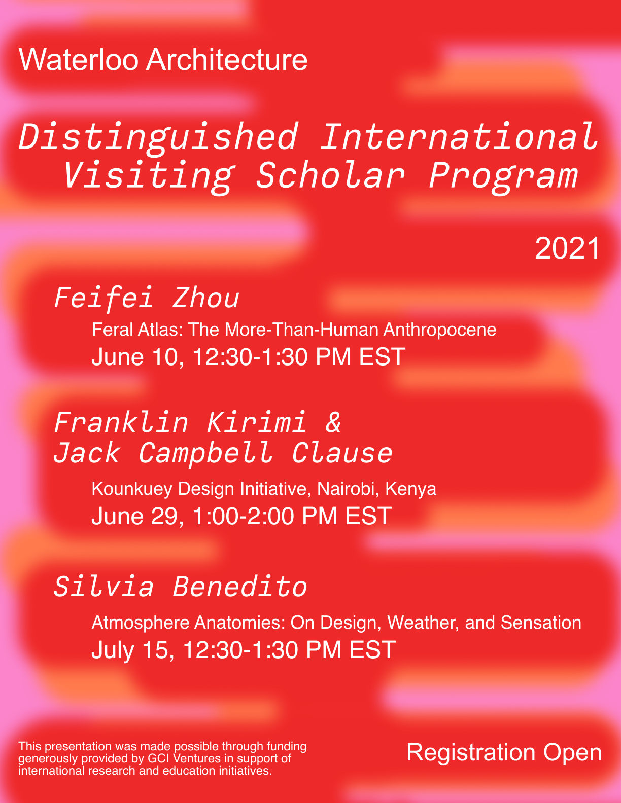 A vibrant red poster of the event series with all of the speaker information and dates in white font.