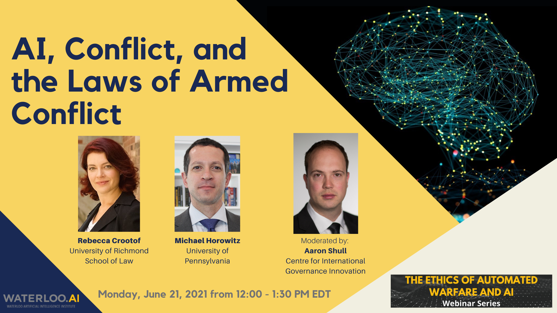 AI, Conflict, and the Laws of Armed Conflict event poster