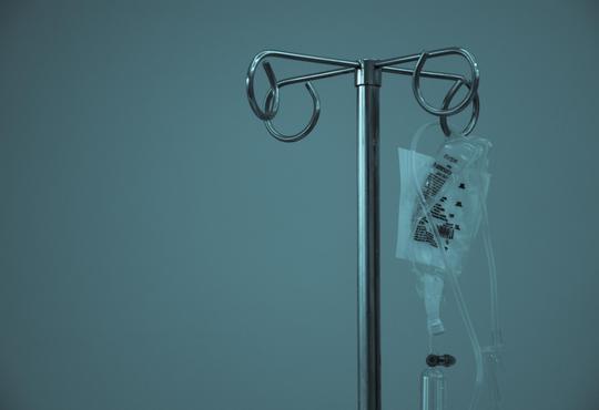 medical dextrose drip on pole