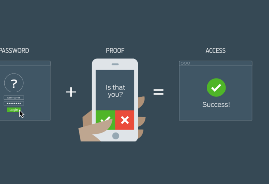 Diagram of how to log into two-factor authentication using a password and using a fingerprint login