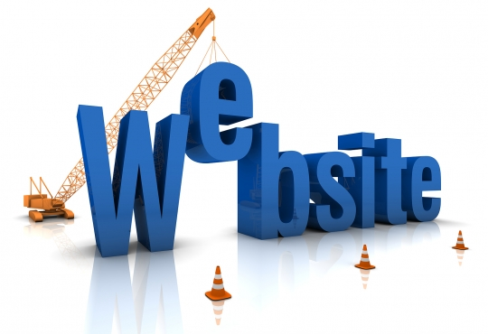 Website words being assembled by a construction company
