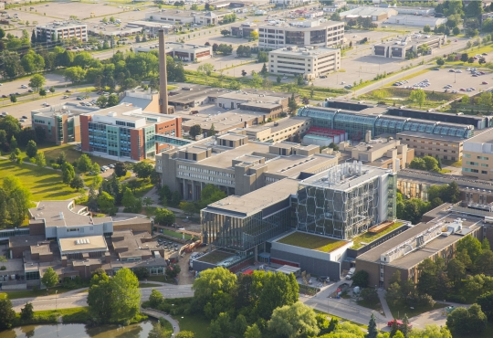 Aerial shot of the University