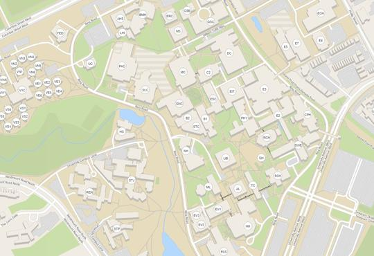 A labelled map of the University of Waterloo main campus