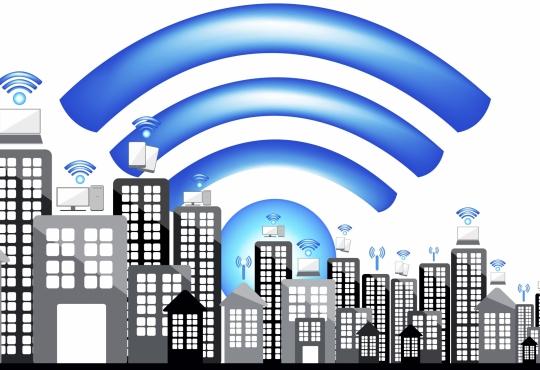 Wifi symbol over a city