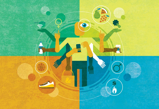 abstract image of a person choosing multiple items