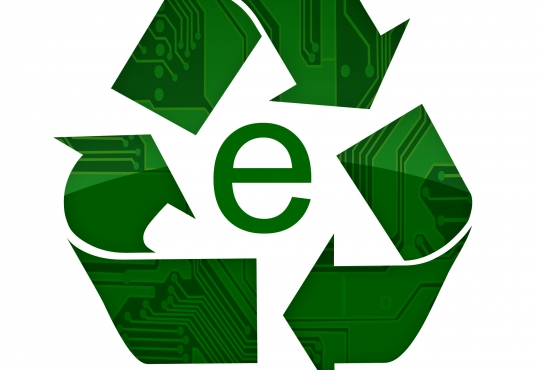 Recycle Symbol made of computer parts