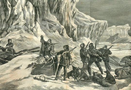 Old drawing of men from the Franklin Expedition