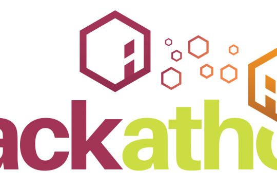 Hackathon logo with helix shapes