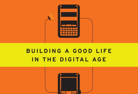 Cover of the book. Orange with two smartphones on it