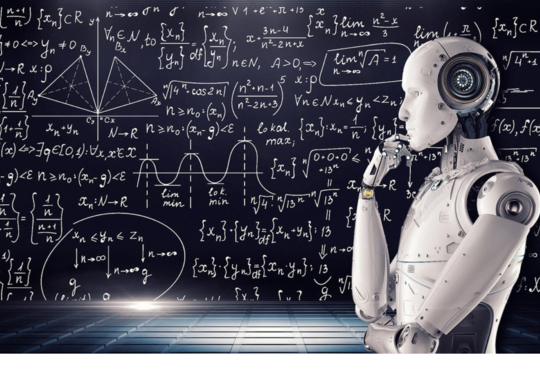robot infront of a calkboard with mathetical equations