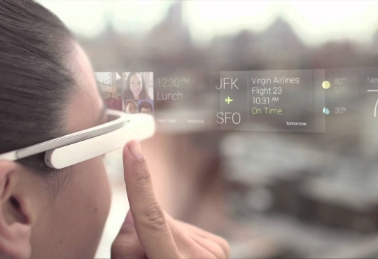 Woman with google glass looking at flight information