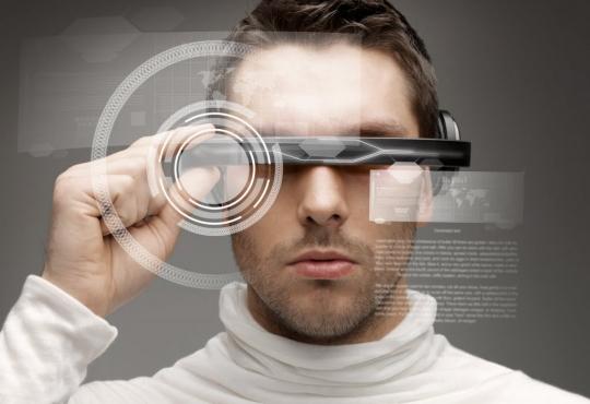 Man wearing high tech sunglasses