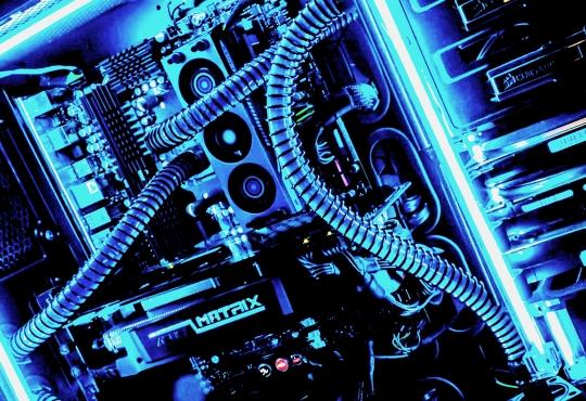 Inside a blue gaming rig