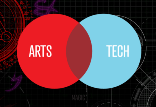 background image with gears and venn diagram with arts on one side and tech on the other