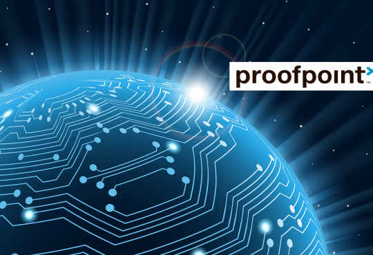 Proofpoint logo and blue outline of earth