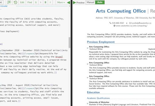 Example resume of Arts Computing Office