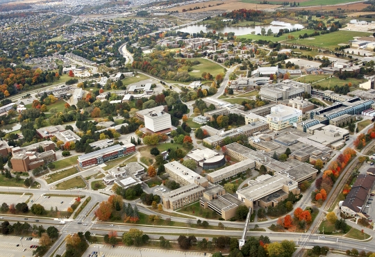 Aerial shot of the Waterloo campus