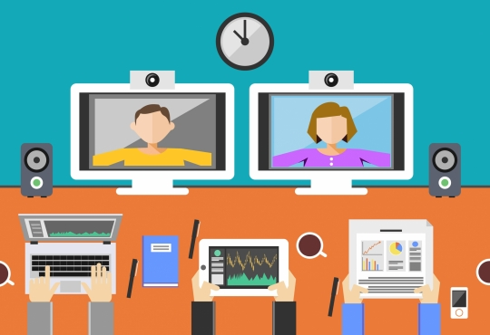 Cartoon of  5 people video conferencing with a variety of devices
