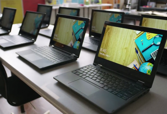 Rows of various laptops