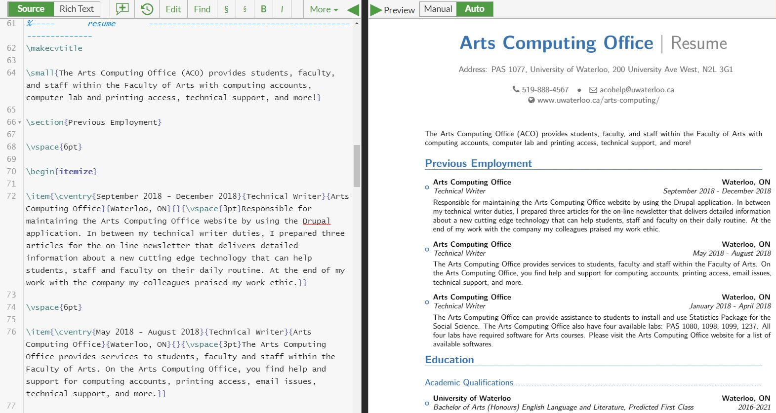 Overleaf | Arts Computing Office Newsletter | University of