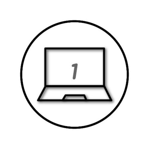 Black and white computer icon with the number one in the centre
