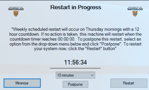Notification for Restart in Progress for Windows 10 users