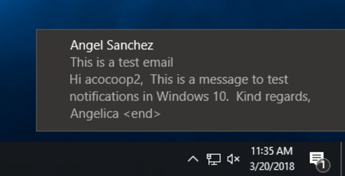 screenshot of email notification popup on Windows 10