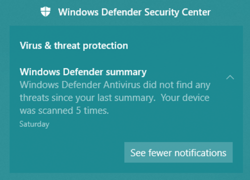 Notification for Windows Defender Security Center