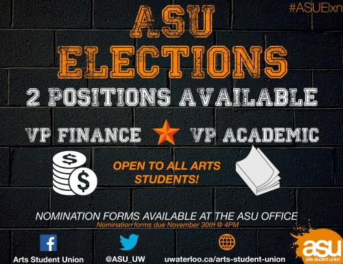 ASU Elections Poster displaying two available positions.