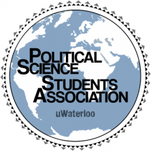 Politcal Science Students Association logo, it is an image of earth with their name on it.