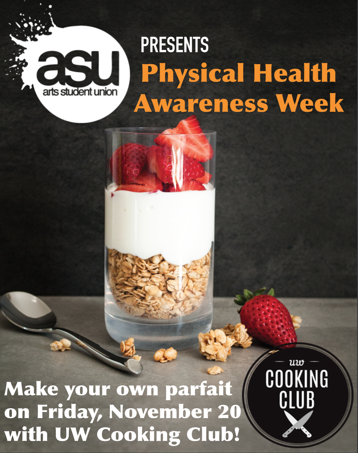 Arts Student Union Make Your Own Parfait Poster Displaying An Image Of A And Event