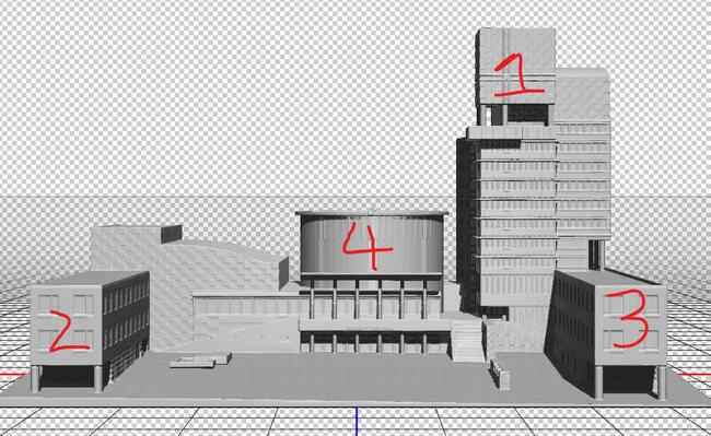 3D model of Kitchener City hall showing where the videos would be projected