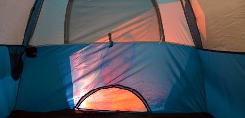 Video plays in tent