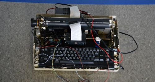 Typewriter with wires