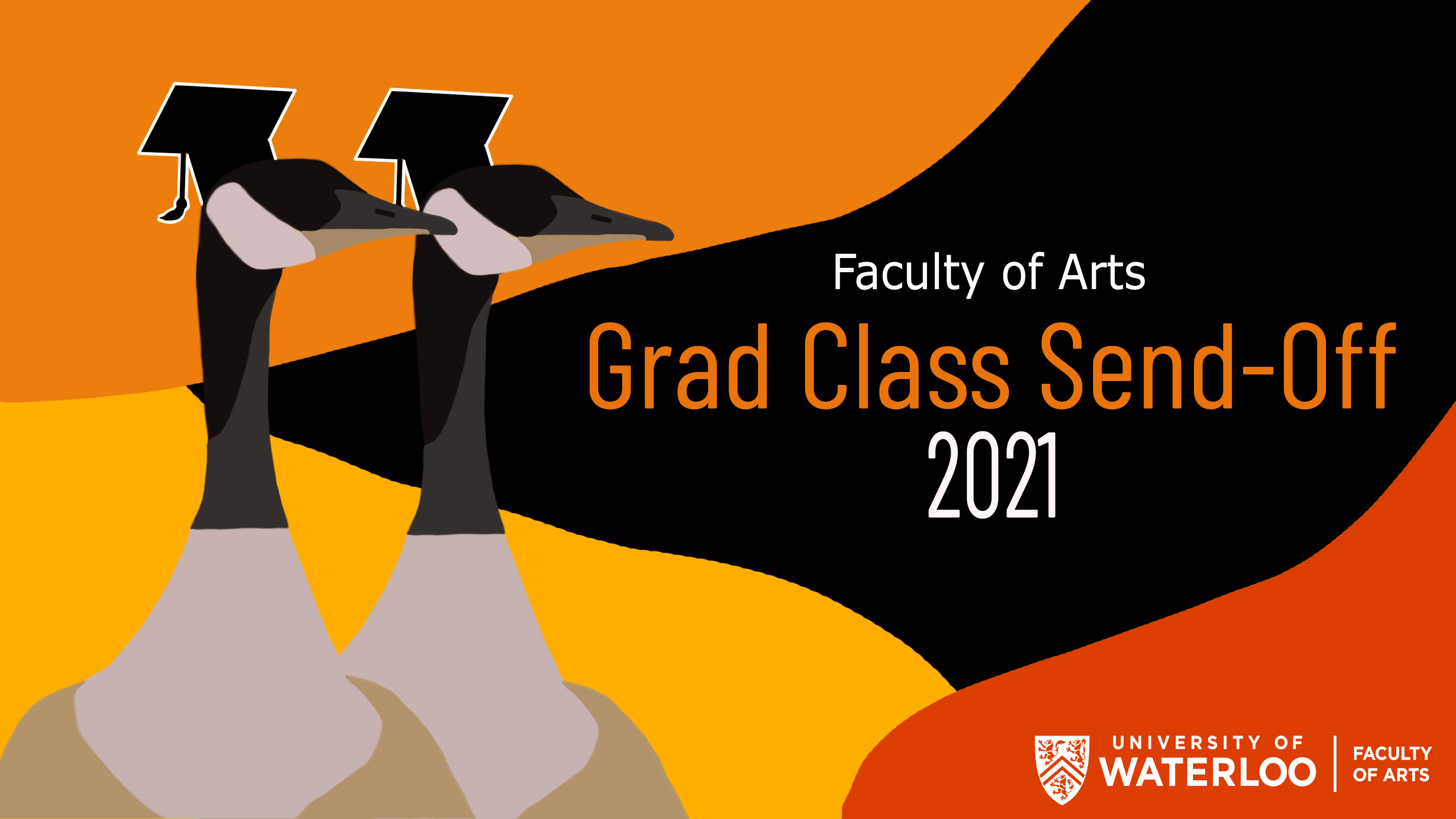 Grad Send-Off Graphic with two Canadian geese with graduation caps