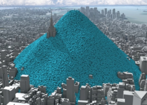 Rendering of empire state building with small balls piled up to the spire