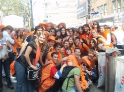 Jesse with fellow students celebrating Queen's Day in Amsterdam