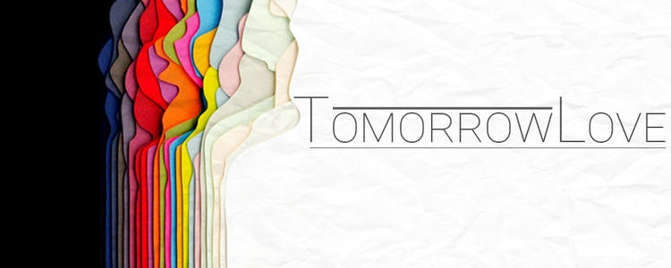 layers of coloured paper with title, Tomorrowlove