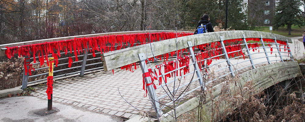 bridge with red ribbons tied along railings