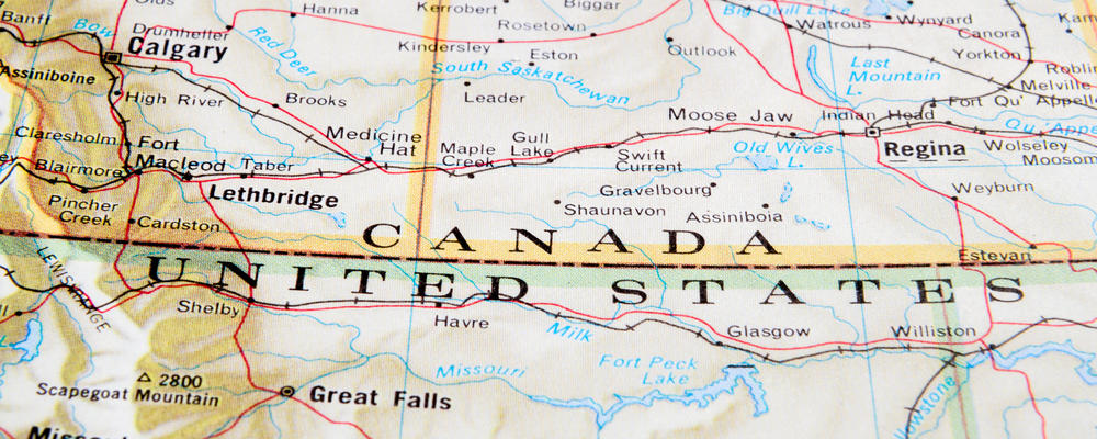 map showing Canada US border