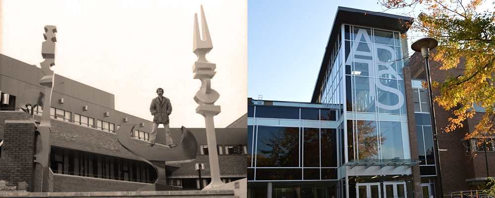 two images, old and new, of Hagey Hall