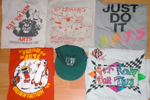 Orientation t-shirts and baseball cap from the 90s.