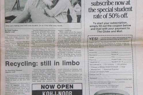 Newspaper article from 1989 about a successful Arts Orientation.