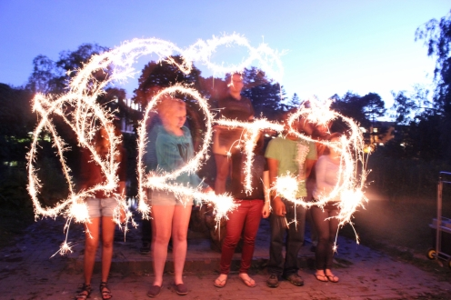 students with sparklers 2015