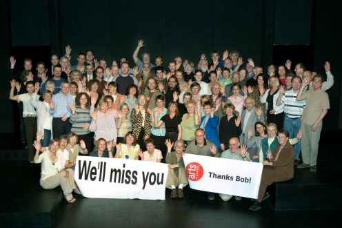Vintage photo of Faculty of Arts staff thanking Bob.