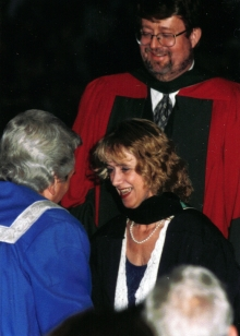Christine receiving her diploma at her BA convocation