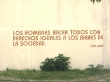 Quote by Simon Bolivar written on wall