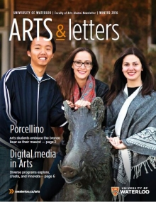 arts and letters cover with three students around boar sculpture