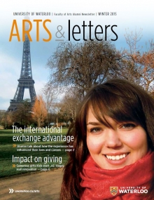 Winter 2015 issue cover with student in Paris