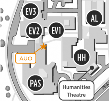 Campus map showing location of the Arts Undergraduate Office.